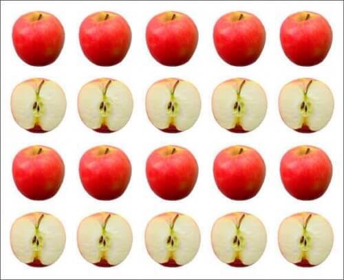 Ganze Äpfel und halbe Äpfel in Linien.