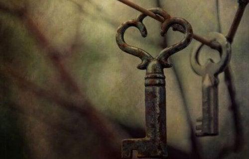 Alte Schlüssel hängen am Zaundraht.