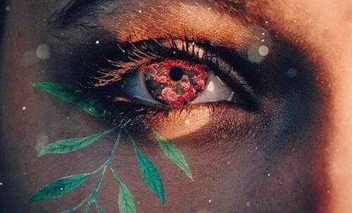Auge mit Blumen als Symbol für kognitive Geduld