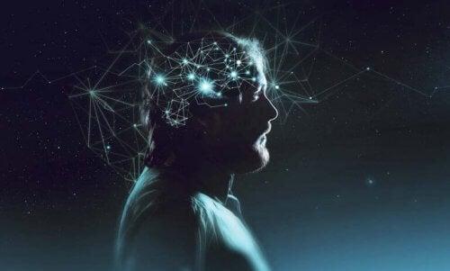 Darstellung der Gedankengänge im Gehirn eines Mannes