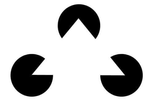 Ein aus geöffneten Kreisen gebildetes Dreieck.