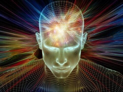 Das erleuchtete Gehirn eines Menschen
