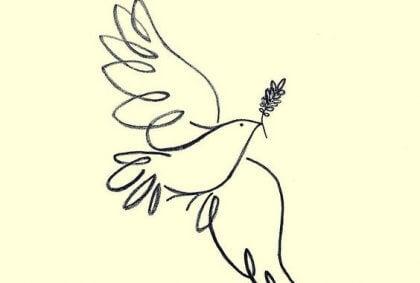 Eine gezeichnete Friedenstaube