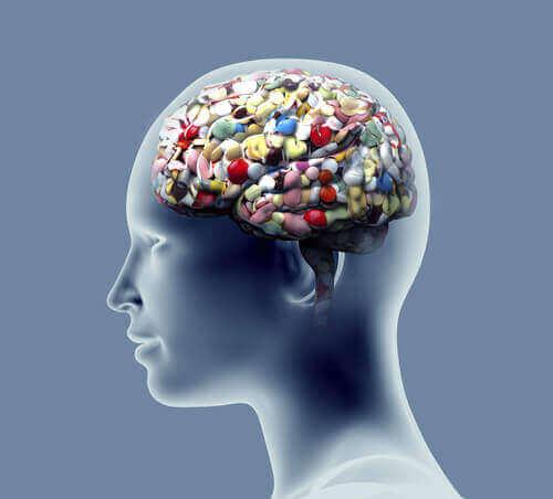 Darstellung eines Gehirns voller Medikamente