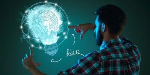Illustration eines Gehirns in einer Glühbirne, welches von einem Mann bedient wird