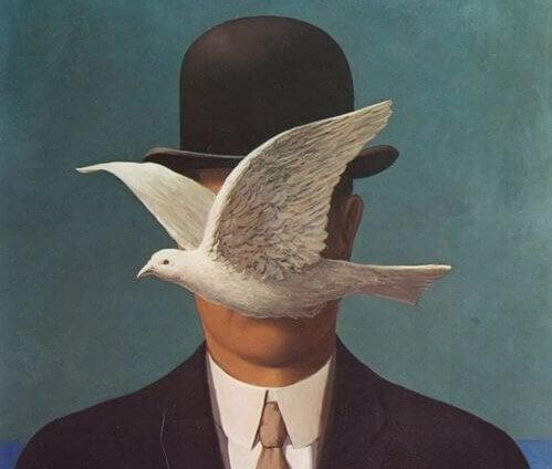 Gemälde, das einen Mann zeigt, vor dessen Gesicht eine Taube fliegt