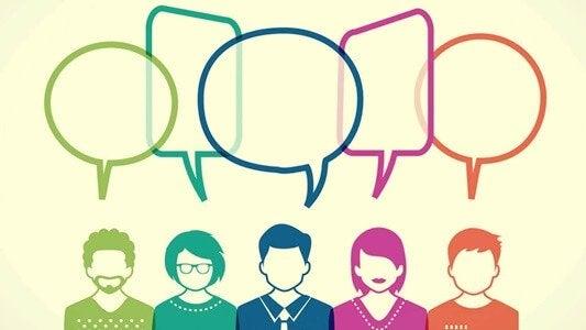 Illustrierte Menschengruppe, die miteinander spricht