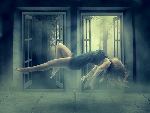 Darstellung einer schwebenden Frau