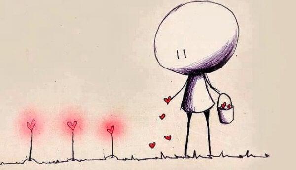 Ein Strichmännchen sät Herzchen, die zu leuchtenden Herzblumen heranwachsen.