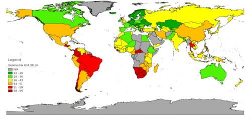 Gini-Koeffizient: Auf einer Weltkarte wird die wirtschaftliche Ungleichheit gezeigt.