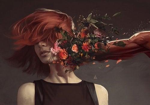 Ein Schlag mit einem Strauß Blumen ins Gesicht einer jungen rothaarigen Frau