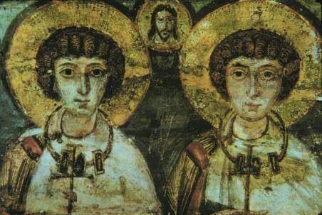 Ein mittelalterliches Bild, das zwei Heilige zeigt