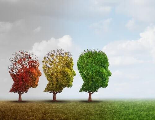 Drei Bäume in den Farben Rot, Gelb und Grün sind wie Gesichter geformt.