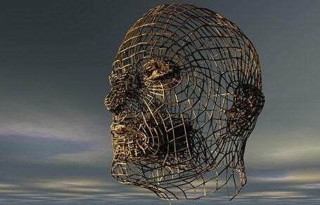 Ein Kopf, der aus Zweigen gebildet wurde