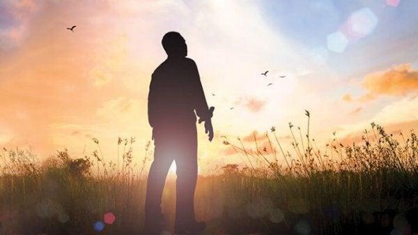 Mann, der in einem Feld steht