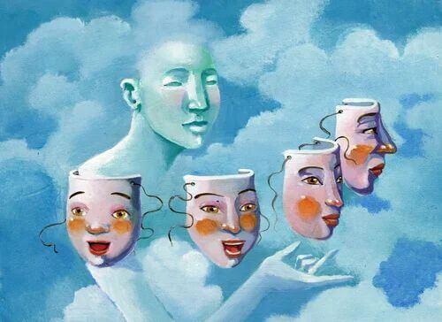 Mensch wählt zwischen Masken