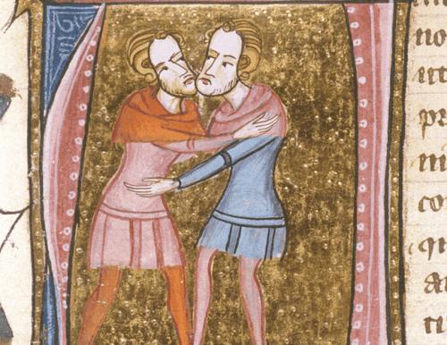 Ein Bild aus einem mittelalterlichen Dokument, das zeigt, wie sich zwei Männer umarmen