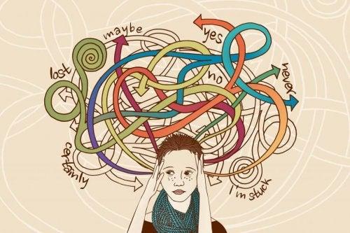 Eine Zeichnung, die eine Frau zeigt, die keine Entscheidung treffen kann, da sie von der Auswahl überwältigt ist