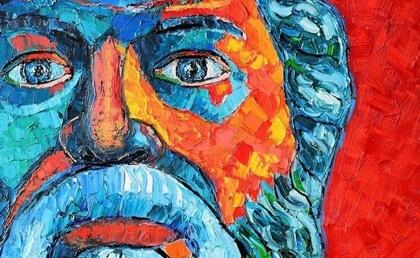 Ein Gemälde, das das Gesicht von Sokrates zeigt