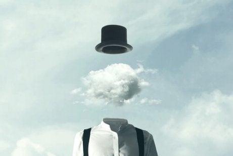 Ein surrealistisches Bild, das eine Wolke als Kopf zeigt