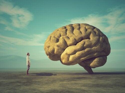 Ein Mann steht und starrt sein riesiges Gehirn an.