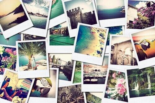 Polaroids mit Urlaubserinnerungen sind auch positive Erinnerungen.