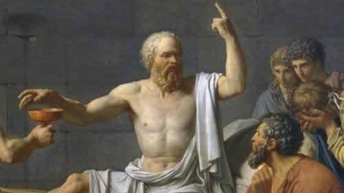 Sokrates hält einen Vortrag.