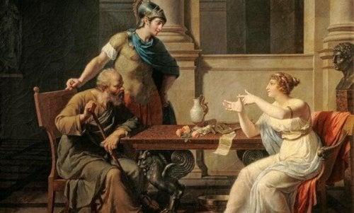 Sokrates und Xanthippe auf einem Gemälde
