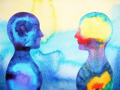 Aquarell von zwei Menschen, die sich gegenüberstehen
