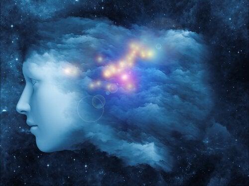 Gesicht und Sterne repräsentieren das Unterbewusstsein