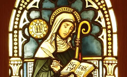Darstellung auf Glas von Hildegard von Bingen