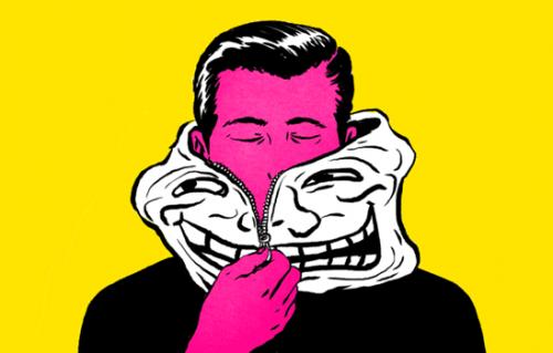 Mann setzt sich eine Maske auf und wird zum Troll