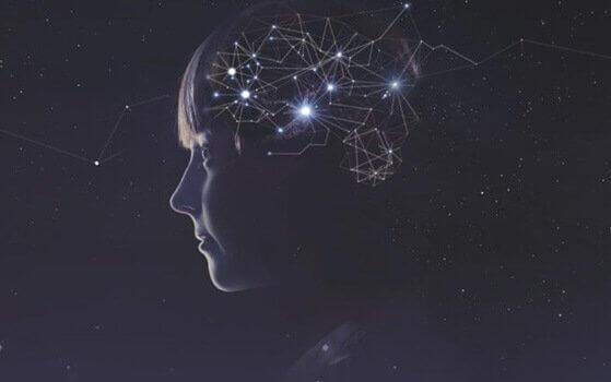 Mädchen, mit verschiedenen Verbindungen im Kopf