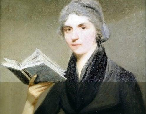 Ein Porträt, das Mary Wollstonecraft mit einem Buch in ihrer Hand zeigt.