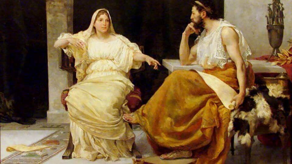 Aspasia spricht mit einem Philosophen