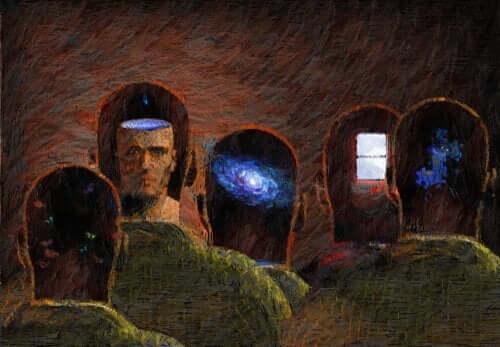Harald Schultz-Hencke. Ein Gemälde, das mehrere Männerköpfe zeigt.