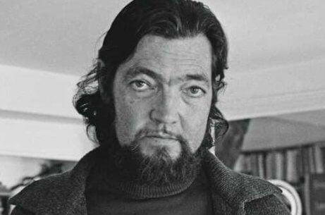 Ein Bild, das Julio Cortázar zeigt, als er ein bisschen älter war, mit Bart, von der Brust hoch.