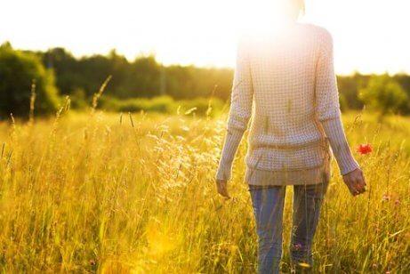 Eine Person, die vom Nacken aus gesehen durch ein sonniges Feld läuft und glücklich ist, ohne Angst zu leben.