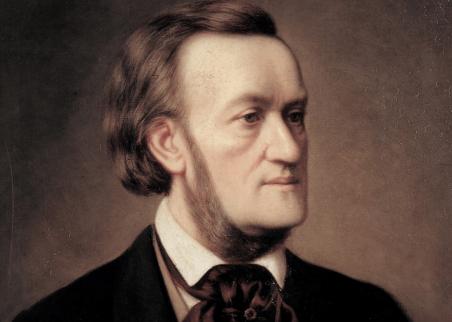 Ein Gemälde, das Richard Wagner von der Brust aus rechts neben der Kamera zeigt.