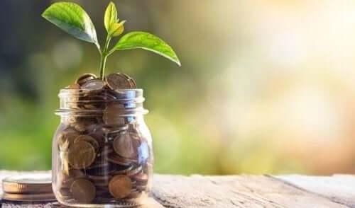 Ein Glas mit einer Pflanze, die aus Münzen heraus wächst.
