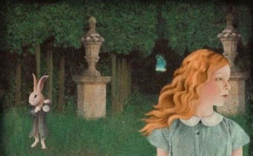 Eine Szene aus Alice im Wunderland.
