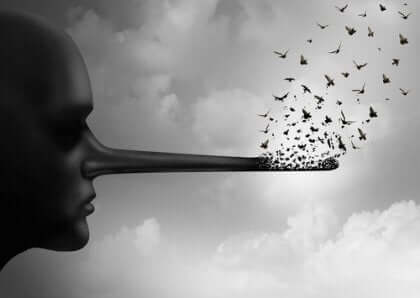 Ein Mann mit einer langen Nase, die sich in Vögel verwandelt.