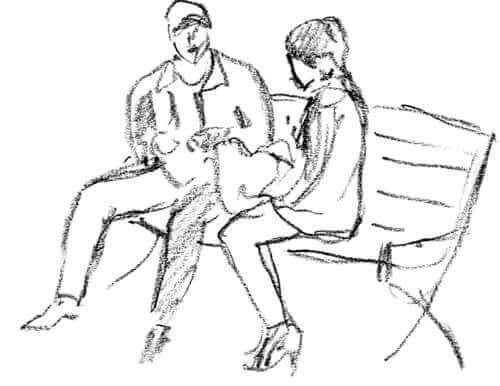 Beziehungstest - Zeichnung eines Paares auf einer Bank