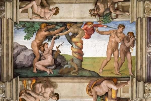 Paradiesdarstellung auf einem Deckenfresko Michelangelos.