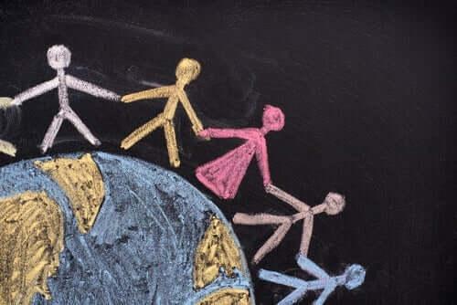 Menschenrechte - Menschenkette auf Globus