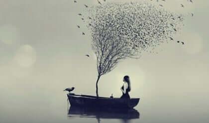 Es ist wichtig, dich daran zu erinnern, dass diese Gedankenmuster sich ähnlich verhalten, wie es in der Situation der Fall ist, in der auf einem See in einem undichten Boot ruderst. Das negative Denken wird dich ertränken.