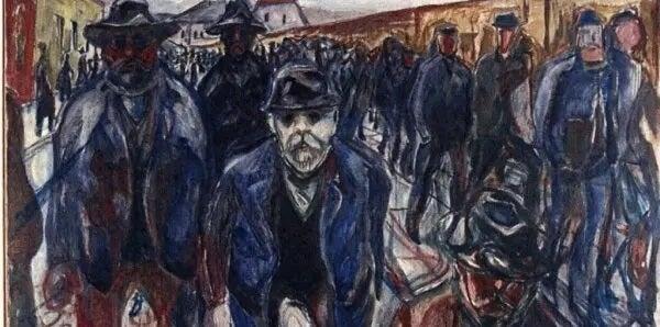 """Gemälde von Edvard Munch mit dem Titel """"Arbeiter auf dem Heimweg""""."""