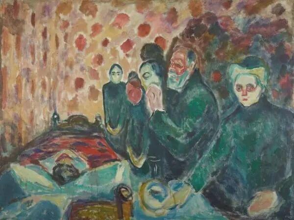 """Gemälde von Edvard Munch mit dem Titel """"Todeskampf""""."""