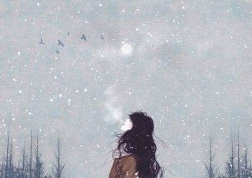 bewusste Atmung - Frau im Schnee