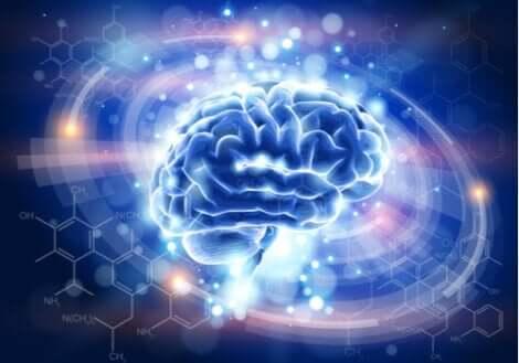 posttraumatischer Stress - ein blau erleuchtetes Gehirn